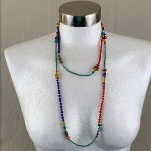 VINTAGE MULTICOLORED 1970'S BEADED LONG NECKLACE